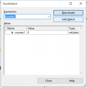 Quickwatch Window